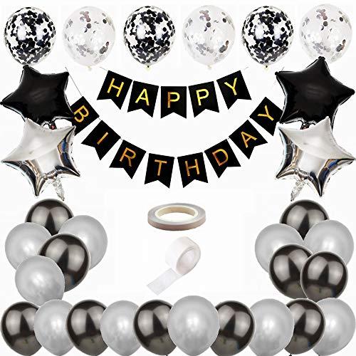 Kiwochy Schwarz Silber Geburtstag Deko Geburtstag Dekoration Set Männer Deko Geburtstag Schwarz Silber Girlande Geburtstagsdeko Happy Birthday Banner für 18. 21. 30. Geburtstag Luftballon Party Deko