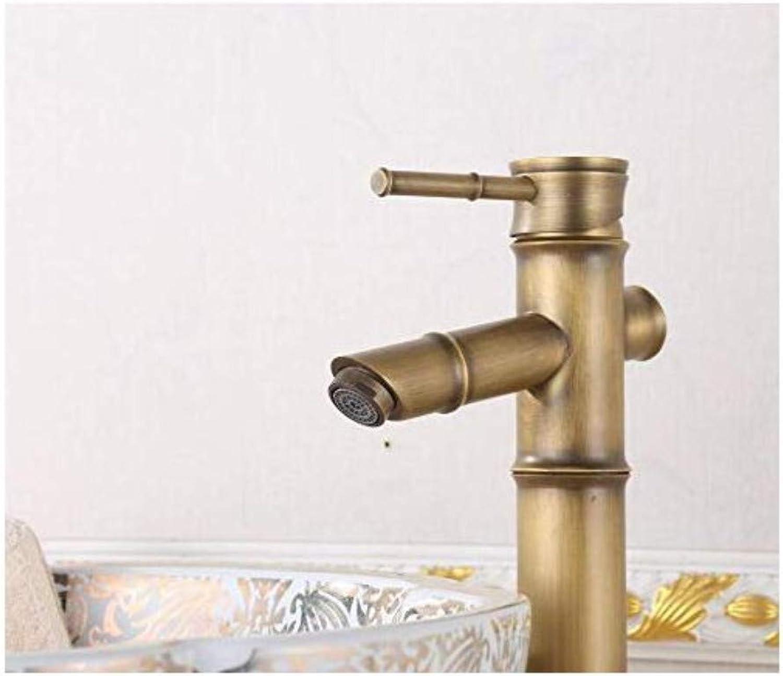 Chrome-Plated Adjustable Temperature-Sensitive Led Faucetfaucet Antique Copper Faucet Antique Copper Faucet Basin Mixer Faucet European Waterfall Bamboo Festival