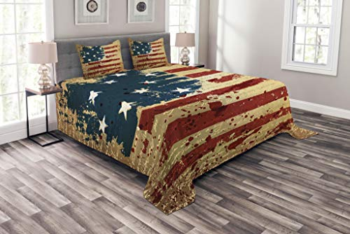 Lunarable American Flag Bedspread, Vintage Revival Inspired Murky Dirty National Pattern Hand Writing Artwork, Decorative Quilted 3 Piece Coverlet Set with 2 Pillow Shams, Queen Size, Beige Ruby