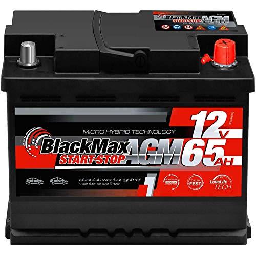 BlackMax Autobatterie AGM 65Ah 12V Start-Stop Starterbatterie VRLA statt 60Ah