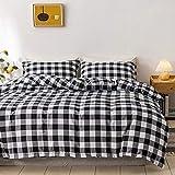 HJSM - Juego de cama de 3 piezas, diseño de cuadros, nórdico, moderno, Simplicidad, diseño de cuadros en blanco y negro, 100 % microfibra, funda de almohada de 200 x 200 cm, enrejado