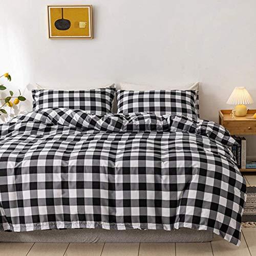 HJSM - Juego de cama de 3 piezas, diseño de cuadros, nórdico, moderno, Simplicidad, diseño de cuadros en blanco y negro, 100 % microfibra, funda de almohada de 135 x 200 cm (2 unidades), enrej