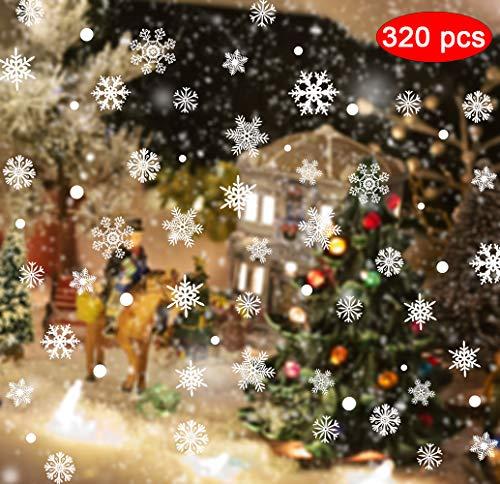 Movein 200 Fensterbilder Weihnachten Schneeflocken,120 Tupfen, Herausnehmbare Fensterbilder Für Dekorative Fenster,Fensterbilder Weihnachten Wiederverwendbar Und Winterdekorationen Verziert Sind