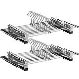 SONGMICS CRI006-20 Metall Kleider-/Hosenbügel, für Hosen Socken Röcke, 40 x 10,5 cm (extra breit) Anti-Rutsch, verchromt, 20 Stück