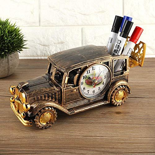 Aobay Multifunción Escritorio Reloj de Alarma Clásico Vintage Coche Reloj Digital Reloj de Regalo para Estudiantes Suministros Decoración de Mesa (Color : Rojo)