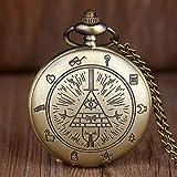 YHWW Reloj de bolsill oNuevo Bronce Vintage Bill Cipher Gravity Falls Reloj de Bolsillo de Cuarzo analógico Colgante Collar Hombres Mujeres niños Relojes Cadena Regalo