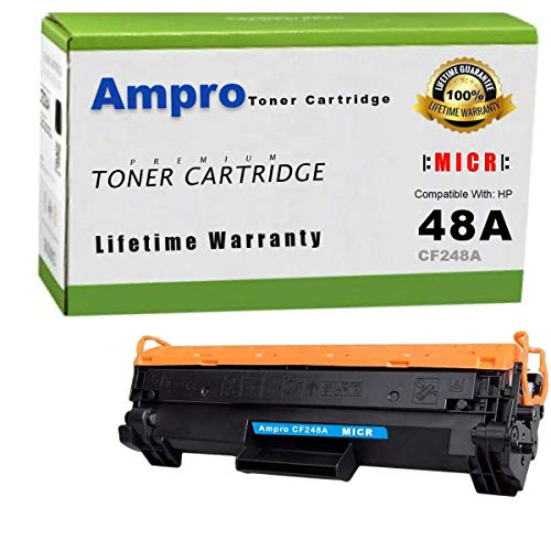Ampro's CF248A MICR Compatible Toner Cartridge Replacement for HP CF248A 48A MICR or HP 48A for HP Laserjet M29W M15W, M15a, MFP M28a/MFP M28w