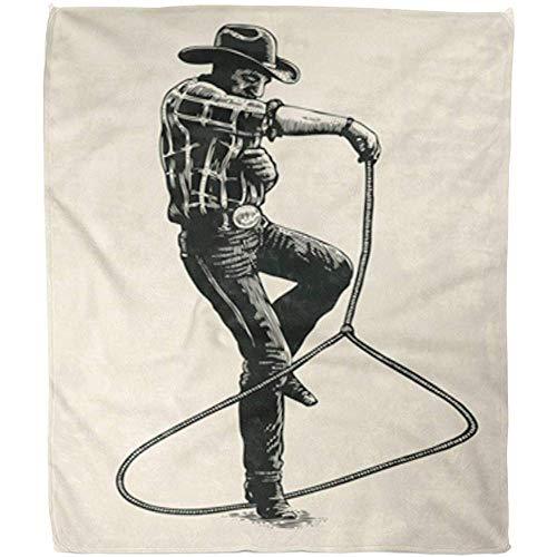 Fleecedeken Cowboy Retro Mostra Padronanza van de Lazo op figuur Rodeo deken dier fleece warme deken Fuzzy zachte bank hotel kantoor 102 x 127 cm