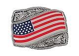 Bijouxmodefashion fibbia per cintura bandiera americana USA, acciaio cesellato