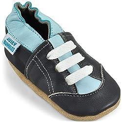 Juicy Bumbles - Weicher Leder Lauflernschuhe Krabbelschuhe Babyhausschuhe mit Wildledersohlen. Junge Mädchen Kleinkind- Gr. 12-18 Monate (Größe 22/23)- Graue Turnschuhe