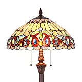 Capulina Tiffany Style Floor Light, Victorian Style Tiffany Pole Lamp, 2 Light Tiffany Floor Lamp, 18 Inches Wide Stained Glass Floor Lamps, Standing Lamp, Leaded Glass Floor Lamp (Tall: 66 inches)