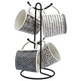 Tabletops Gallery Avenue Mug Collection- Ceramic Stoneware Microwave Dishwasher Safe Coffee Tea Colorful Mug Tree Set, 5 Piece Contemporary Black and White 16 Ounce Mug and Metal Rack Set (4 Patterns)