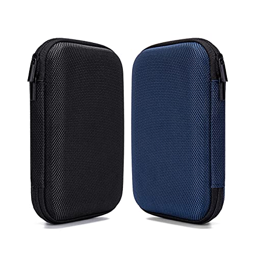 Ginsco 2pcs EVA Hard Carrying Case for Portable External Hard Drive Power Bank Charger USB Cable Battery Case (Black+Blue)