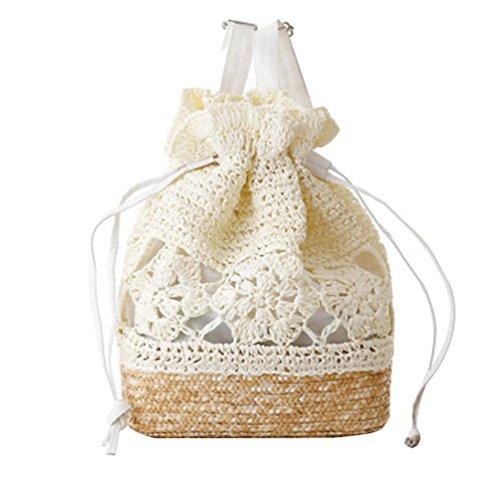 YOUJIA Casual Stroh Gewebt Taschen Strand Rucksack Strandtasche Damentasche (Milch Weiß)