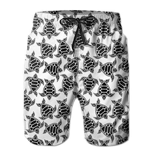 Men's Big and Tall Swim Trunks Beachwear Drawstring Summer Holiday,Monochrome Design of Heart Shaped Tortoise Sea Turtles Stylized Animal Pattern,3D Print Shorts Pants