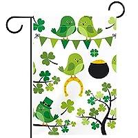ガーデンヤードフラッグ両面 /12x18in/ ポリエステルウェルカムハウス旗バナー,緑のクローバー鳥