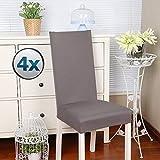 coprisedie con schienale 4 pezzi Elasticizzato Copertura della sedia bi-elastico per una misura universale, Coppia spandex Coprisedia molto facile da pulire e di lunga durata (Confezione da 4,Taupe)