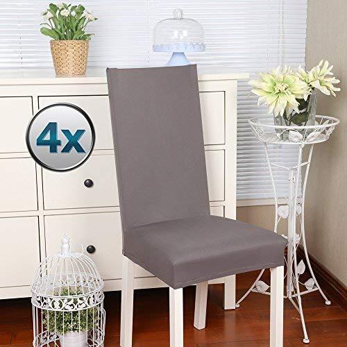 Fundas para sillas Pack de 4 Fundas sillas Comedor Fundas elásticas, Cubiertas para sillas,bielástico Extraíble Funda, Muy fácil de Limpiar, Duradera (Paquete de 4, Gris.)