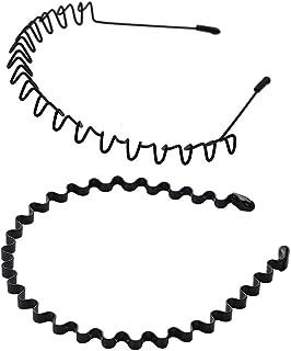 shefun メンズ カチューシャ スプリング ヘアバンド 鉄 波型 くし付き 滑り止め 痛くない 黒 シンプル 前髪 髪飾り 2本セット JP171 (A)