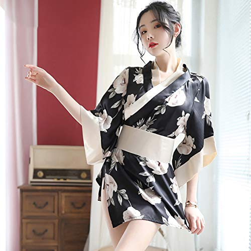Metermall New for Woman Sexy Homewear Bathrobe Japanese Kimono Cosplay Costume Floral Pattern Sleepwear Black and white flower Free size