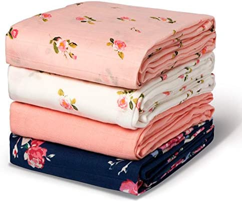 Momcozy Muslin Swaddle Blanket Baby Girl Newborn 4 Pack Large Wrap Swaddle Blankets Soft Silky product image
