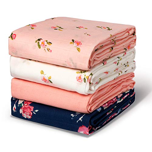 Momcozy Swaddle Blankets for Baby Boy & Girl, Large Bamboo Muslin Swaddle Blankets, 47 x 47 inches, Soft Breathable Receiving Blanket , Floral Designed Nursery Swaddling Blankets, 4 Pack