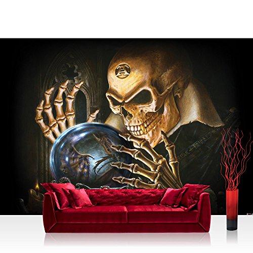 Vlies Fototapete 200x140 cm PREMIUM PLUS Wand Foto Tapete Wand Bild Vliestapete - Illustrationen Tapete Alchemy - The Scryer Totenkopf Knochen Drachen Vampir Kugel gelb - no. 718