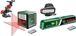 Bosch Laser Level Quigo with Clamp (3rd Generation, Range: 10 m, in Cardboard Box) & PLL 1 P Laser Spirit Level (Working R...