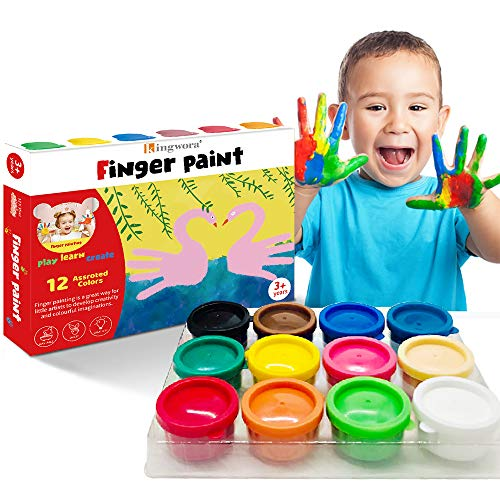 Finger Paint For Toddlers NonToxic Washable 12 Bright Colors Painting for Kids DIY Crafts Painting School Painting Supplies Gifts for Kids