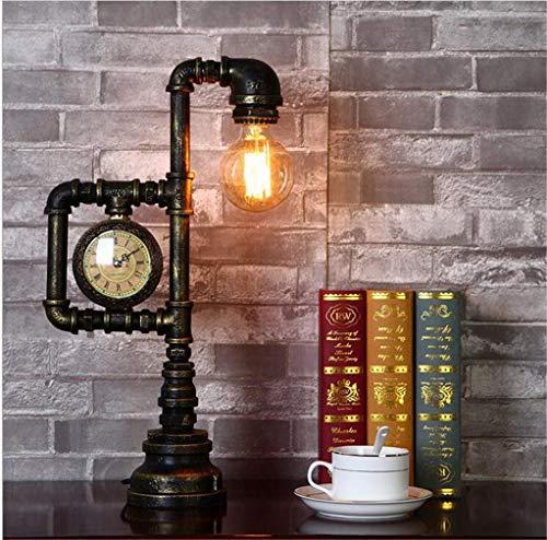 FHKBB Vintage Schreibtischlampe, industrielle Retro Steampunk Shisha Tischlampe, antike Rost Eisen Schreibtisch Akzent Lampe mit Uhr