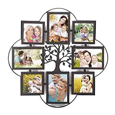 Adeco PF0629 -Opening Decorative Iron Metal Wall Hanging Collage Picture Photo Frame, Black