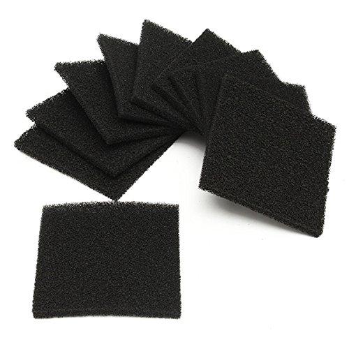 Alamor Almohadillas De Filtro De Aire De La Esponja De La Espuma Del Carbón Activado Negro De 10pcs Fijadas Para El Amortiguador De Humo