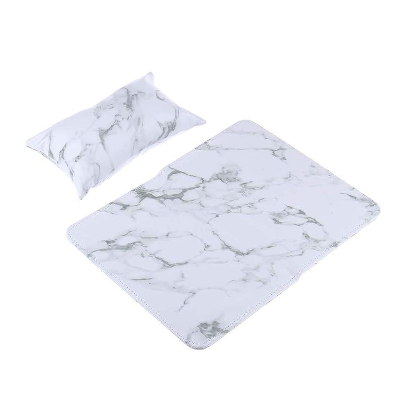 名義で不健康ブラシPUレザーソフトハンドクッション枕&折り畳み式パッドネイルアートアームレストホルダー - 白