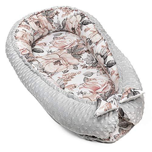 Cálida cuna para recién nacidos, cuna de invierno y otoño, capazo de capazo (gris claro Minky con diseño de rosa salvaje, 90 x 50 cm)