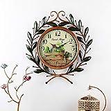 ZAQXSW Wrought Iron Wall Clock Continental Lian Li Wall Stickers Clock bar Decoration Clock Creative Home Mute Living Room Clock