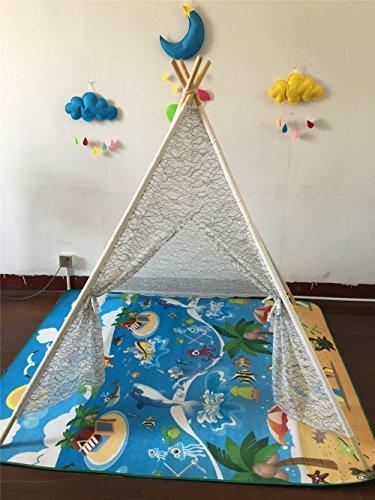 HONEYY Indoor Kinder Zelte Spiel Gehäuse schwarzer Rand Spitze Zelte Gehäuse 120 * 120 * 145 cm Spielzeug für Baby