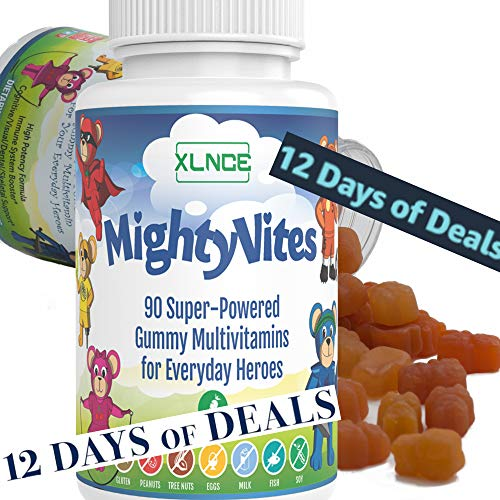 MightyVites Children's Gummy Vitamin: Extra Strength Multi-Vitamin with A, B, C, D, Biotin Booster. Super Powered Veggie Gummie Bears, Kosher & Halal, Made in The USA for Kids, Teens, and Toddlers.