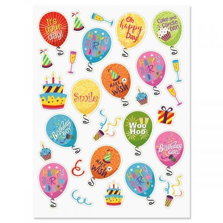 CURRENT Birthday Balloons & Words Stickers - 56 Stickers,Two 8-1/2 x 11 Sheets, Great for Teachers, Students, Scrapbooking, DIY Arts and Crafts, and Party Favors