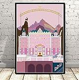 YOUCAIHUA Pintura The Grand Budapest Hotel Movie Classic Comic Gift Poster Prints Art Canvas Wall Pictures Sala de Estar Decoración para el hogar 50 * 70 cm sin Marco