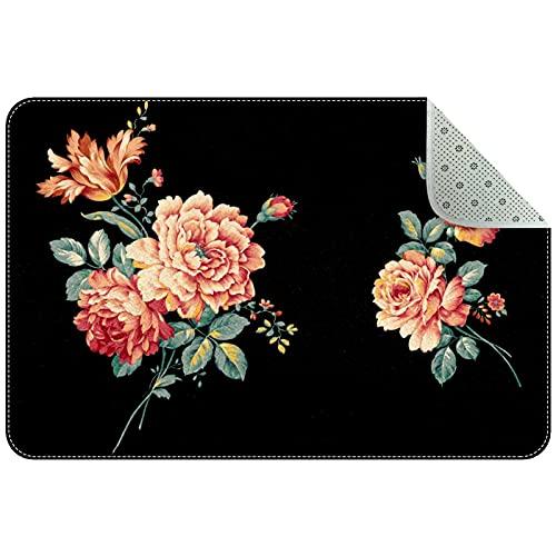 Alfombra de cocina lavable para entrada, alfombra de escritorio, alfombra de baño, pintura al óleo, flores, 78,7 x 50,8 cm