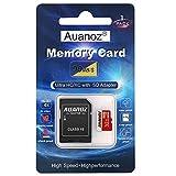 Scheda Di Memoria TF Da 32 GB, Auanoz Ultra Class 10 UHS-I Scheda Di Alta Velocità Memoria per Telefono, Tablet e PC - Con Adattatore. (Rosso-32gb)