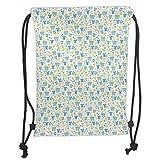 Fevthmii Drawstring Backpacks Bags,Baby,Retro Newborn Items Stroller Rubber Duck Milk Bottle Pin Pyjamas Pattern Decorative,Blue Yellow Mint Green Soft Satin,5 Liter Capacity,Adjustable Str