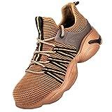 Zapatos de Seguridad Hombre Mujer,Air Cushion Zapatos de Trabajo con Punta de Acero Comodo Respirable Calzado de Seguridad,Khaki▁41