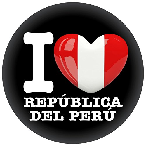 FanShirts4u Button/Badge/Pin - I Love PERU Fahne Flagge (I Love República del Perú)