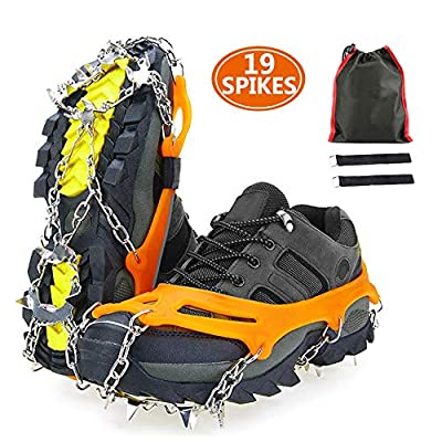 serene freestyle Crampons,Traction Snow Grips with 19 Spikes,Ice Shoes Boots Anti-Slip Climbing Crampons Grippers, Fit Boots and Shoes, Safe Protect for Ski Snow, Hiking,Jogging (Orange, XL)