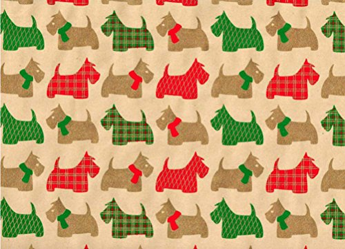 Scottie Dog Rolled Handmade Gift Wrap Paper (2 Sheets)