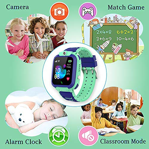 Kinder GPS Intelligente Uhr Wasserdicht, Smartwatch GPS Tracker mit Kinder SOS Handy Touchscreen Spiel Kamera Voice Chat Wecker für Jungen Mädchen Student Geschenk (S12 GPS Blau)