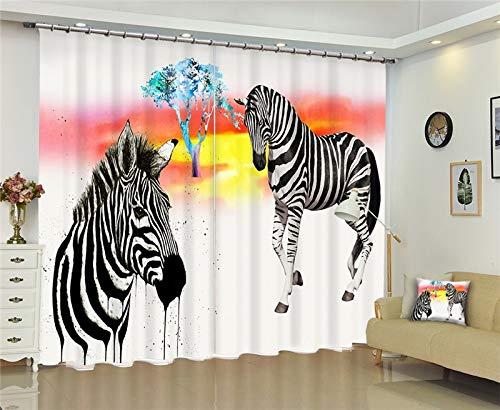 MAOYYM2 Rideaux Blackout 3D Fenêtre Rideau pour Le Salon Chambre Enfants Cortinas Noir Et Blanc Zèbre