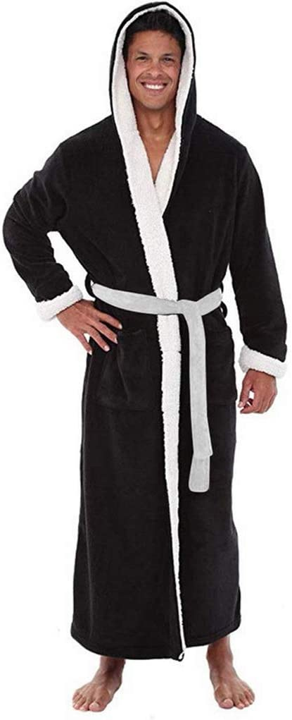 UXZDX CUJUX Robe Man Winter Plus Size Coral Fleece Men's Bathrobe Kimono Warm Flannel Bath Robe Men Cozy Robes Night Sleepwear Pajamas Man (Color : C, Size : XXXX-Large)