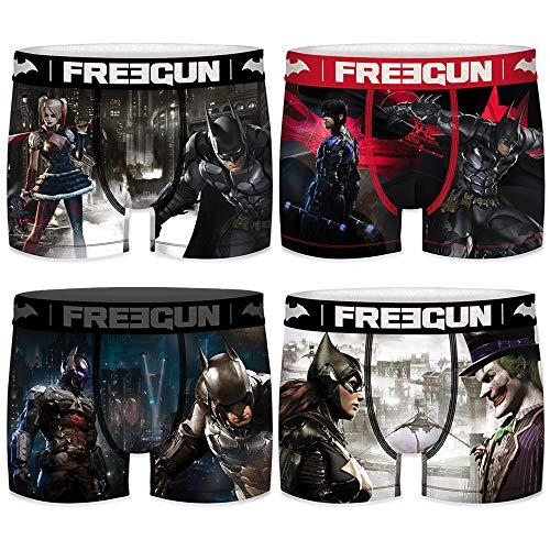 Freegun Herren Boxershorts DC Comics Batman Arkham City Gr. L, Packung mit 4 Enemies